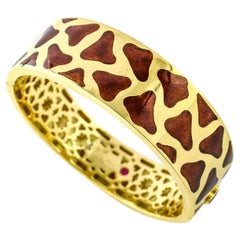 Roberto Coin 18 Karat Yellow Gold Enamel Giraffe Bangle Bracelet