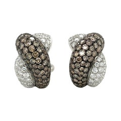 Roberto Coin 18KT White Gold Twist Earrings, 8.70CT Brown & White Diamonds