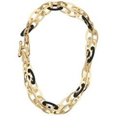 Roberto Coin 1990s Rubber with Gold Oblong Links Convertible Chain Necklace