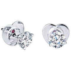 Roberto Coin 2.00 Carat F SI1 Diamond 18kt White Gold Stud Earrings, GIA Reports