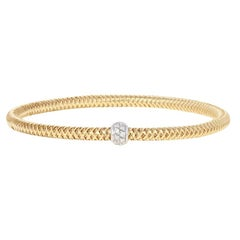 Roberto Coin .22 Carat Diamond Primavera Bracelet, 18 Karat Gold Flexible Bangle