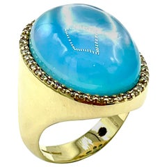 Roberto Coin 26.18 Carat Cabochon Blue Topaz and Champagne Diamond Cocktail Ring