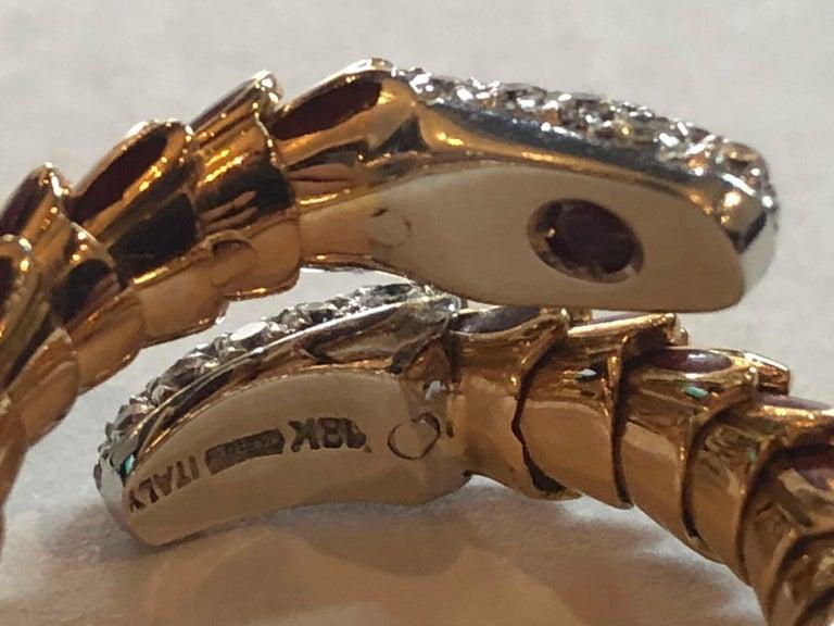 Modernist Roberto Coin 40 Diamond Enamel 18 Karat Rose Gold Snake Design Ring Flexible For Sale