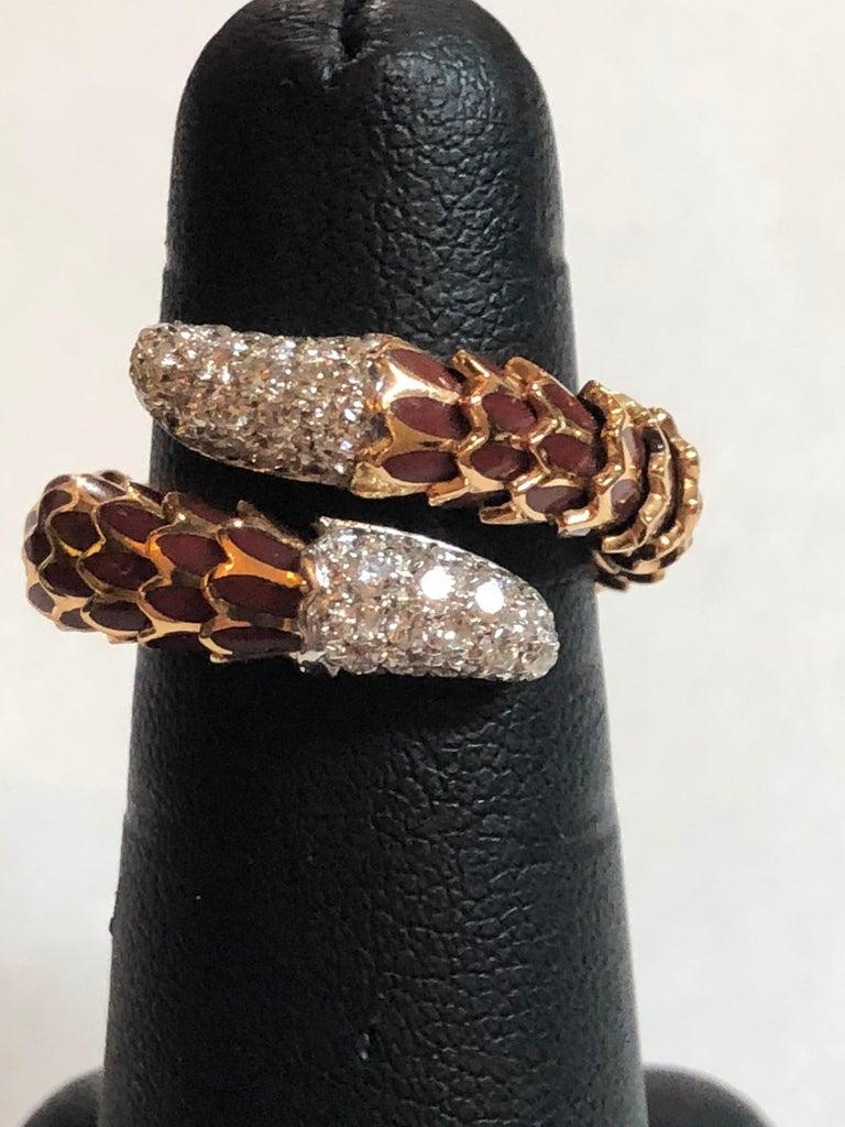 Women's Roberto Coin 40 Diamond Enamel 18 Karat Rose Gold Snake Design Ring Flexible For Sale