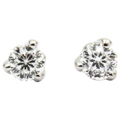 Roberto Coin .48 Carat Cento Diamond Stud Earrings in 18 Karat White Gold