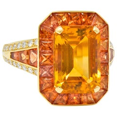 Roberto Coin 6.80 Carats Citrine Sapphire Diamond 18 Karat Gold Cocktail Ring