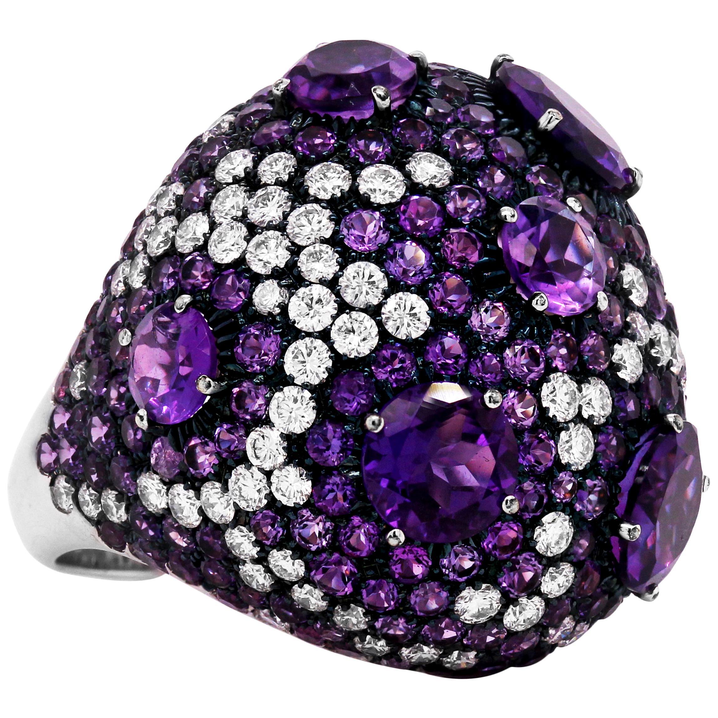 Roberto Coin Amethyst Diamond 18 Karat White Gold Large Dome Ring