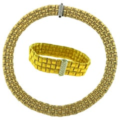 Roberto Coin Appassionata 18 Karat Gold Classic Diamond 3-Row Woven Three Pc Set