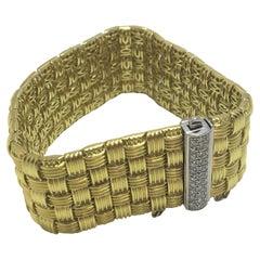 Roberto Coin Appassionata 18 Karat Yellow Gold and Diamond 5-Row Bracelet