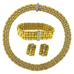 Roberto Coin Appassionata 18k Gold Classic Diamond 3-Row Woven Three Pc, Set