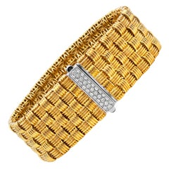 Roberto Coin Appassionata 18K Yellow White Gold and Diamond Five Row Bracelet