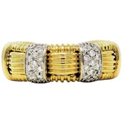 Roberto Coin Appassionata Pavé Diamond Woven Band Ring 18 Karat Yellow Gold