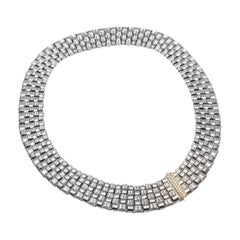 Roberto Coin Appassionata White Gold Diamond 5-Row Woven Heavy Necklace