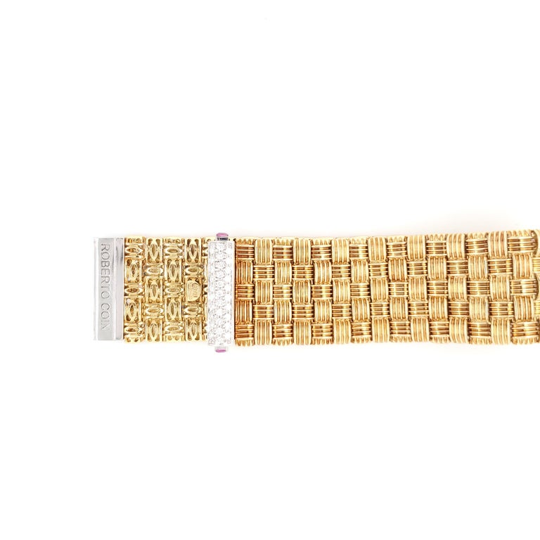 Roberto Coin Appassionata Yellow Gold Diamond Bracelet In Excellent Condition For Sale In New York, NY