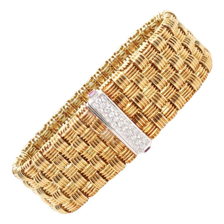 Roberto Coin Appassionata Yellow Gold Diamond Bracelet For Sale