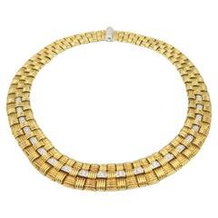 Roberto Coin Appassionata Yellow Gold Mesh Three-Row Necklace with Diamond