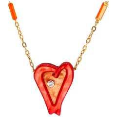 Roberto Coin Ariel's Heart of Hope Diamond and Mother of Pearl 18K Gold Necklace