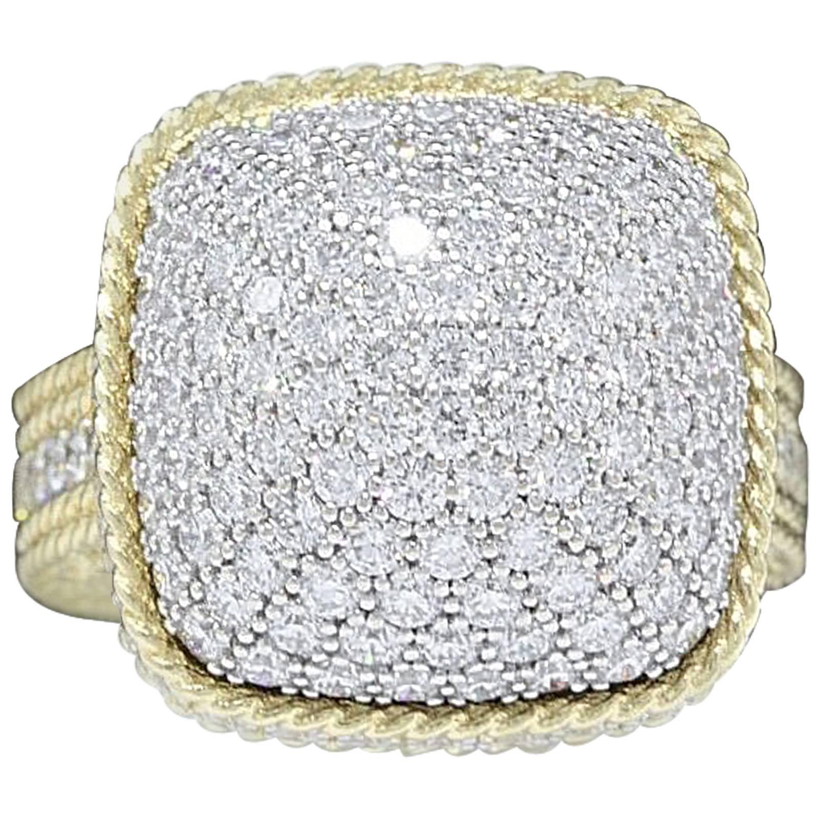 Roberto Coin Barocco 3.30 Carat Diamond Dome Ring 18 Karat Yellow Gold