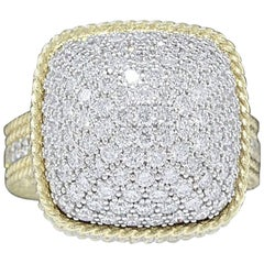 Roberto Coin Barocco 3.30 Carat Diamond Dome Ring 18 Karat Yellow Gold