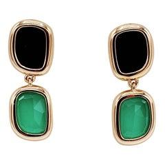 Roberto Coin Black Jade & Agate 18 Karat Rose Gold Drop Earrings