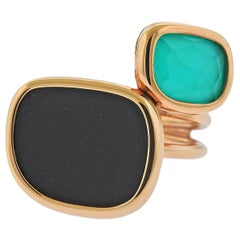 Roberto Coin Black Jade Chrysoprase Crystal Gold Ring