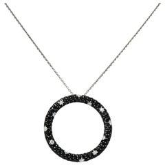 Roberto Coin Black Sapphire Diamond 18 Karat White Gold Fantasia Drop Necklace