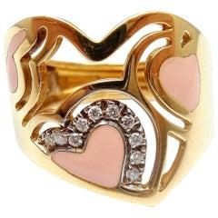 Roberto Coin Capri Diamond Pink Enamel Heart Yellow Gold Ring