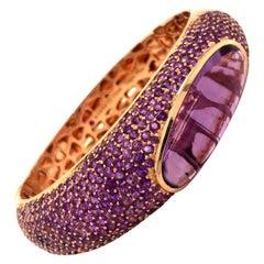 Roberto Coin Capri Plus 18 Karat Rose Gold Amethyst Large Bangle Bracelet