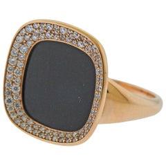 Roberto Coin Carnaby Street Black Jade Diamond Gold Ring