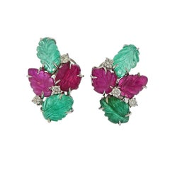 Roberto Coin Carved Emerald Ruby Diamond Gold Earrings