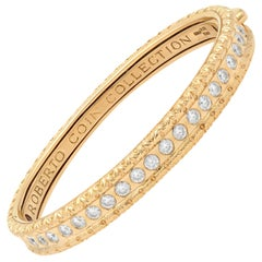 Roberto Coin Cento 18 Karat Rose Gold Florentine Diamond Bangle