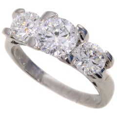 Roberto Coin Cento 3 Stone Diamond Platinum Ring