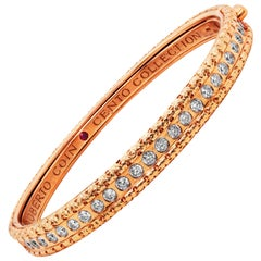 Roberto Coin Cento Collection 18 Karat Gold and Diamond Thin Bangle Bracelet