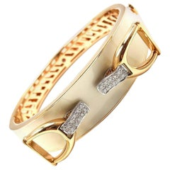Roberto Coin Cheval Stirrup Diamond Enamel Yellow Gold Bangle Bracelet