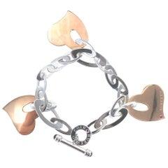 Roberto Coin Chic and Shine Three Heart Charm Link Bracelet 18 Karat Gold