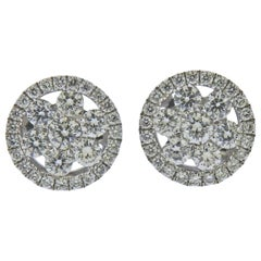 Roberto Coin Classic Cluster Diamond Gold Stud Earrings