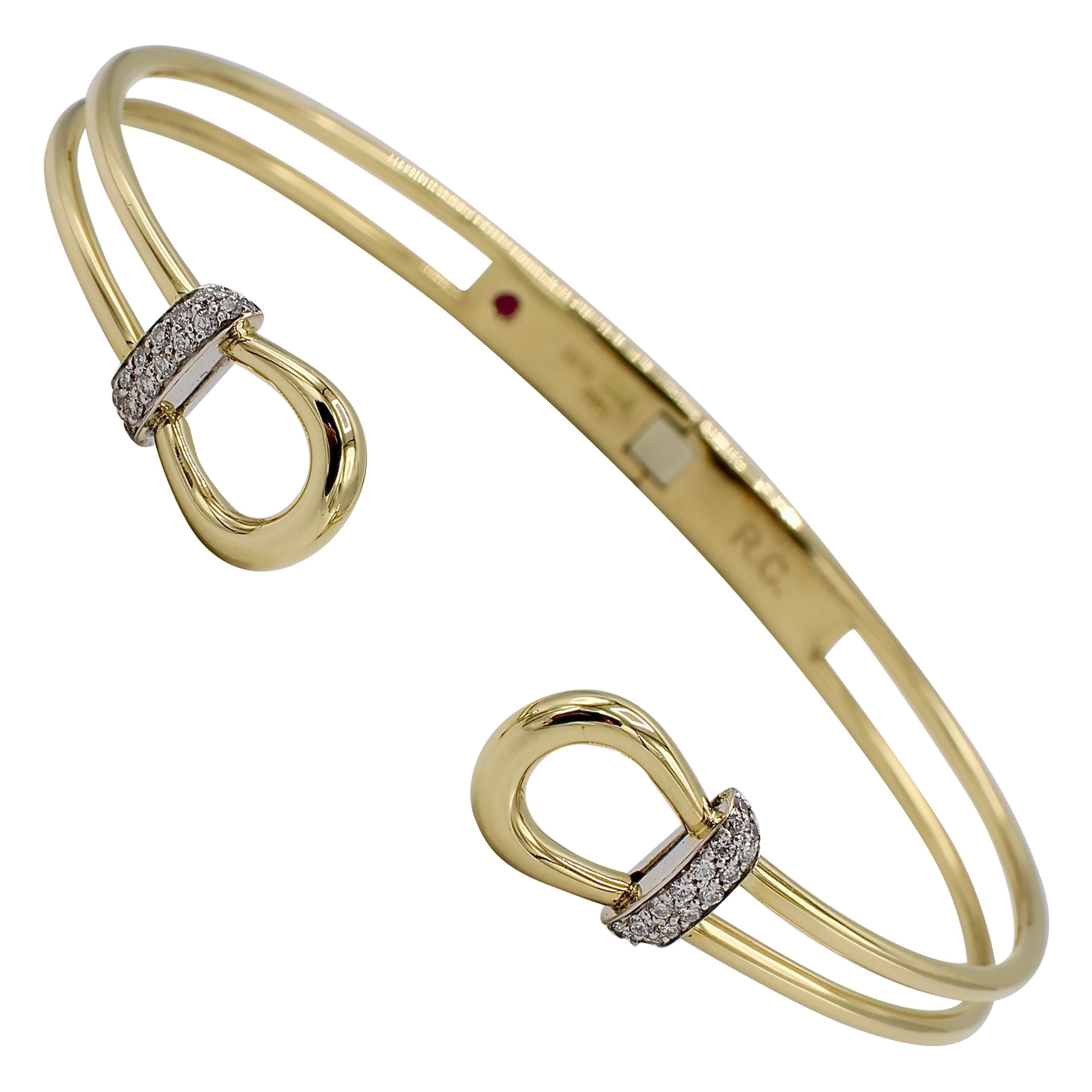 Roberto Coin Classique Parisienne Cheval Diamond Bangle Cuff Bracelet