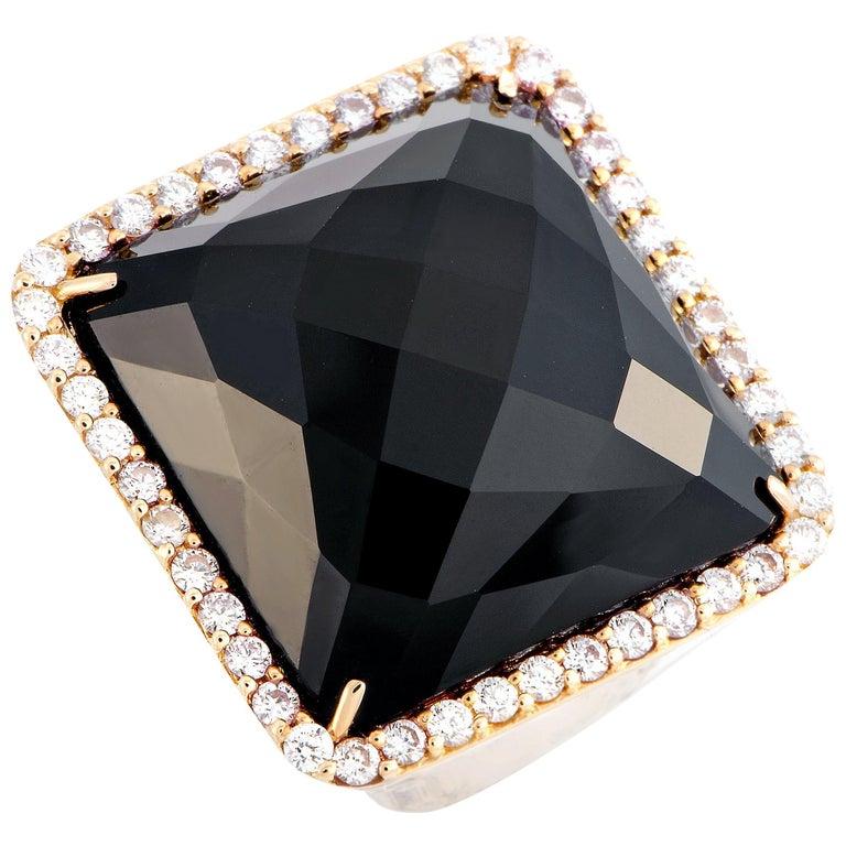 Roberto Coin Cocktail 18 Karat Rose Gold Diamond and Onyx Ring