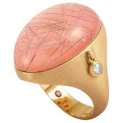 Roberto Coin Cocktail 18 Karat Rose Gold Diamond and Rutilated Quartz Ring
