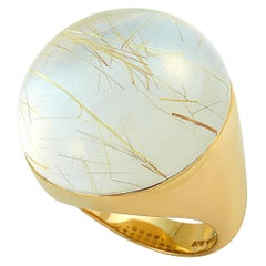 Roberto Coin Cocktail 18 Karat Yellow Gold and Rutilated Quartz Ring