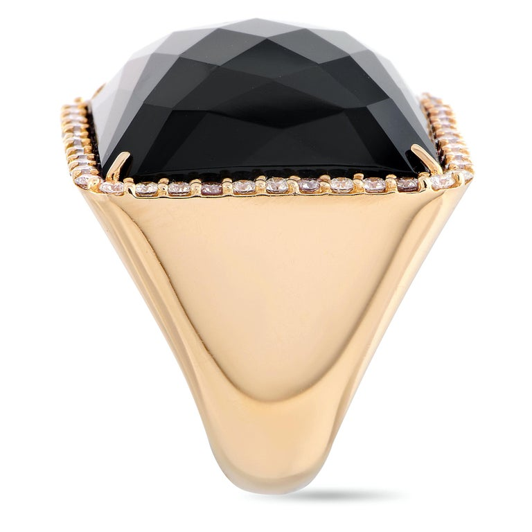 Roberto Coin Cocktail 18 Karat Rose Gold Diamond and Onyx Ring In New Condition In Southampton, PA
