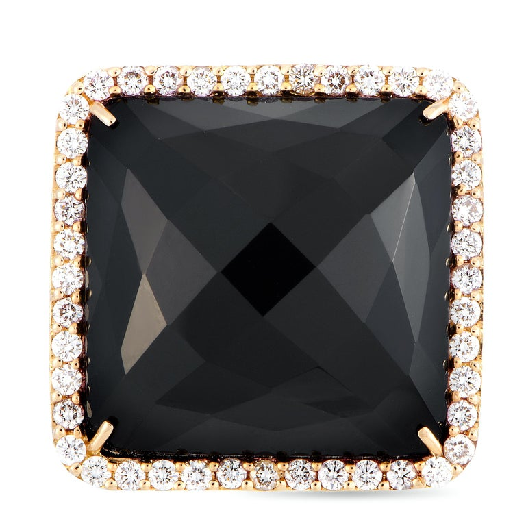 Roberto Coin Cocktail 18 Karat Rose Gold Diamond and Onyx Ring 3