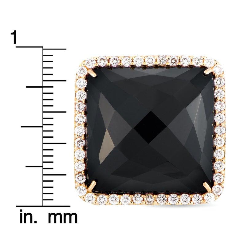 Roberto Coin Cocktail 18 Karat Rose Gold Diamond and Onyx Ring 4
