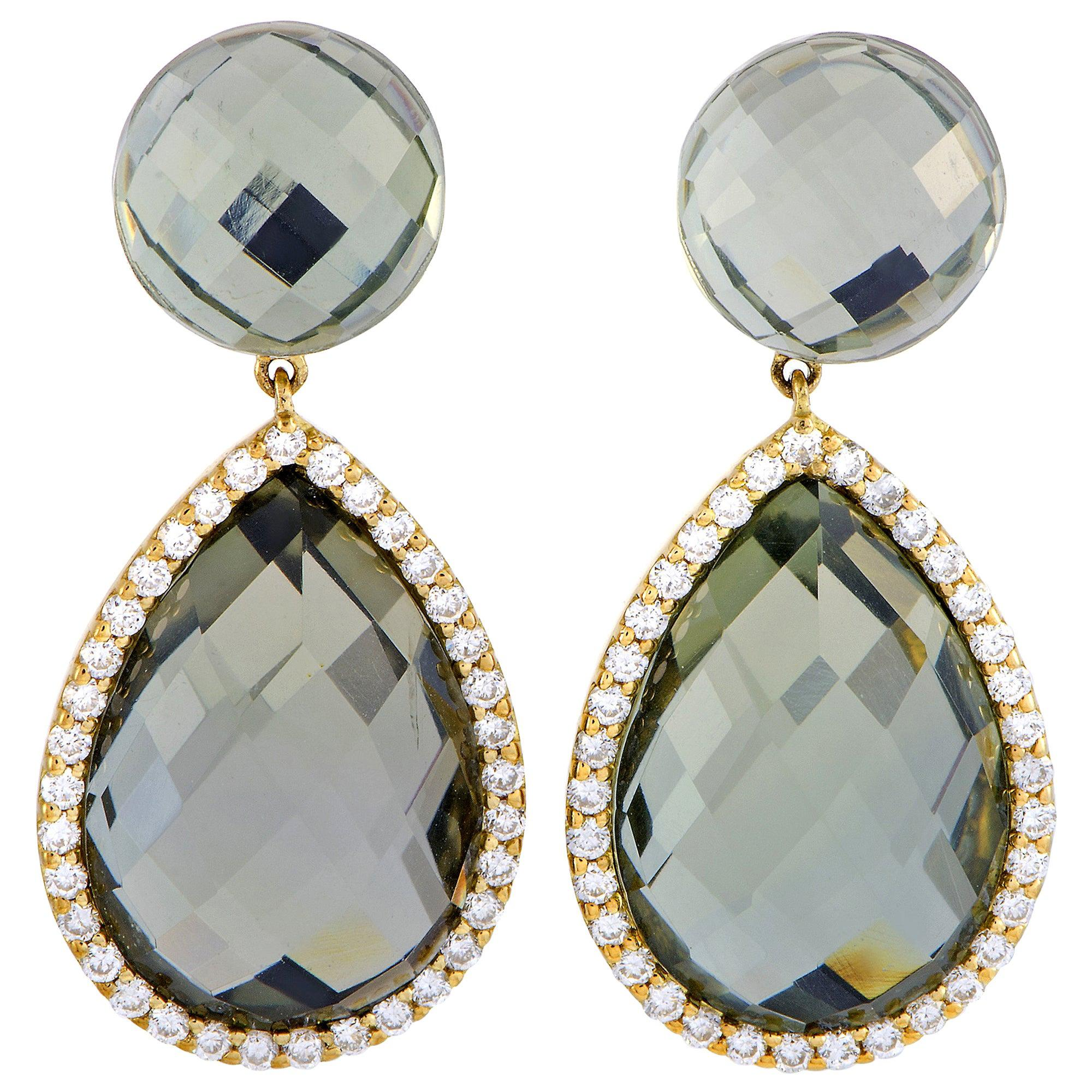 Roberto Coin Cocktail 18k Yellow and White Gold Diamond and Prasiolite Earrings