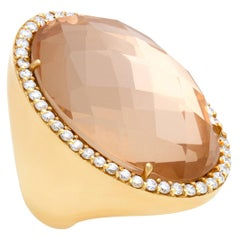 """Roberto Coin """"Cocktail Collection"""" Rock Crystal & Diamond Ring in 18k"""