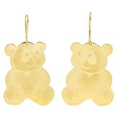 Roberto Coin Diamond 18 Karat Gold Panda Bear Drop Earrings