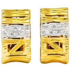 Roberto Coin Diamond 18 Karat Two-Tone Gold Italian Elephantina Earrings