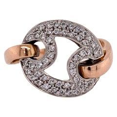 Roberto Coin Diamond 18 Karat White Rose Gold Vintage Ring