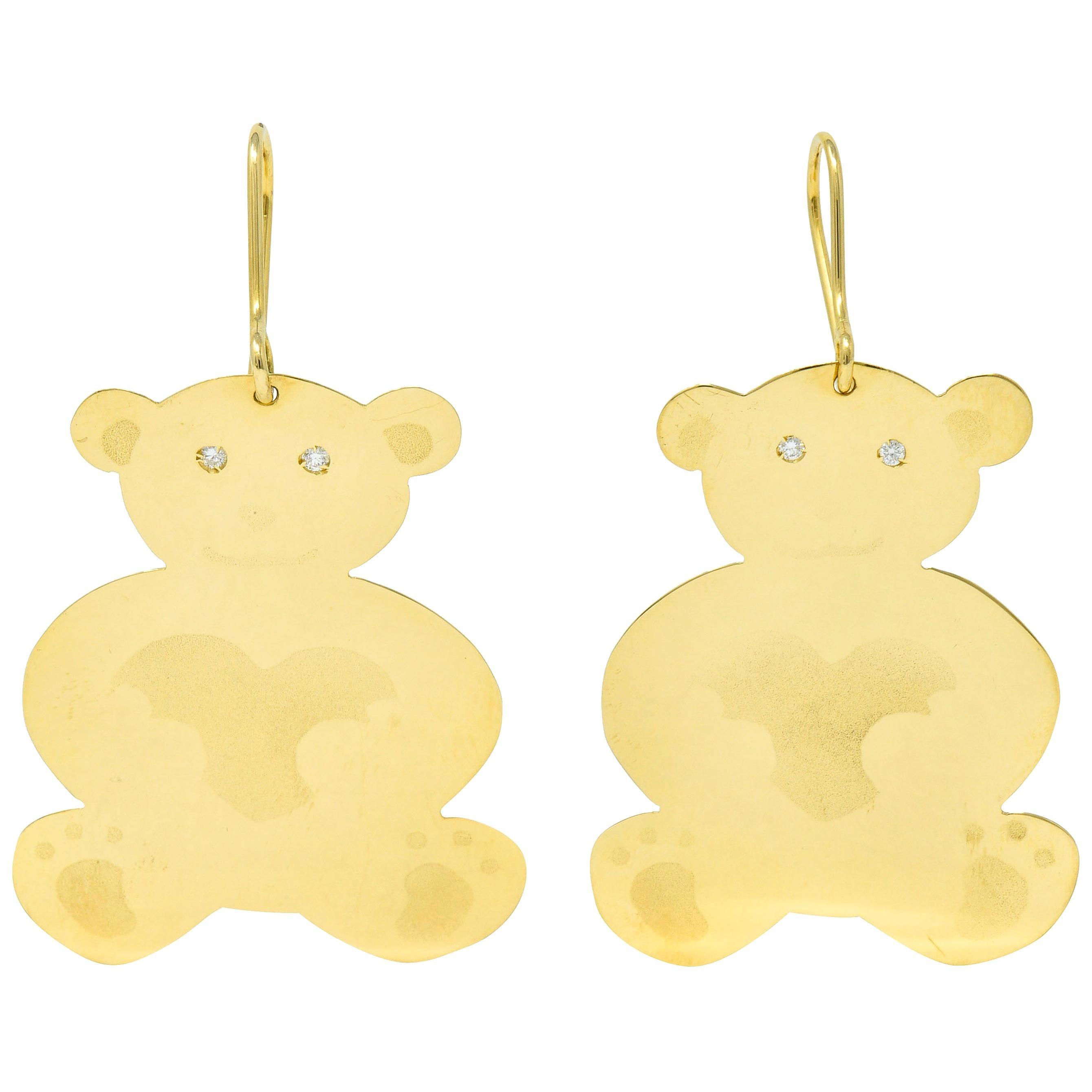 Roberto Coin Diamond 18 Karat Yellow Gold Bear Drop Earrings