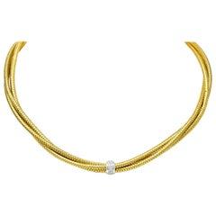Roberto Coin Diamond 18 Karat Yellow Gold Two-Tone Multi-Strand Necklace